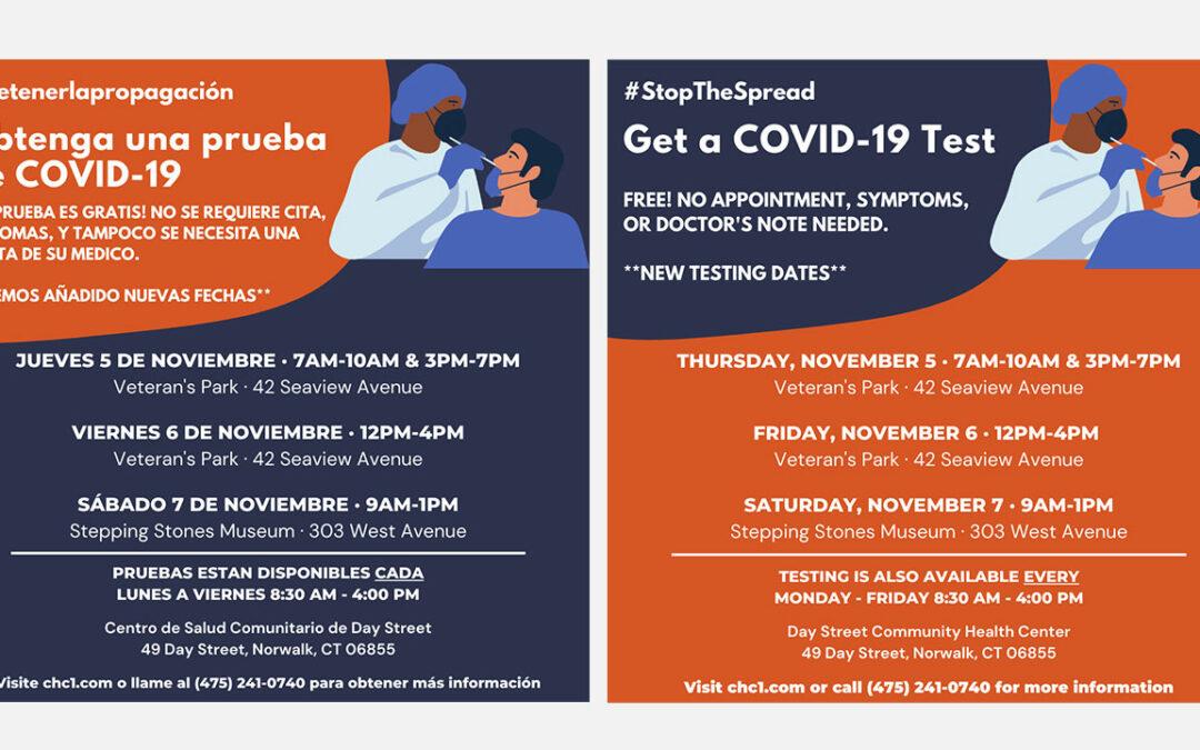NEW FREE COVID Testing Dates – Nov 5,6 & 7